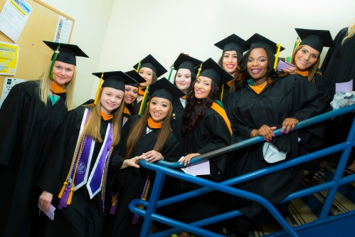 Felician graduates show their excitement as they prepare to process in to Pomp and Circumstance at the 2016 Felician University Commencement exercise.